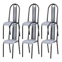 Kit 06 Cadeiras Tubular Cromo Preto 058 Assento Grafiato - Artefamol