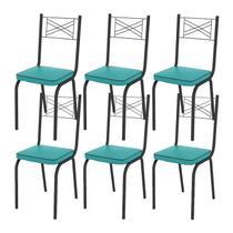 Kit 06 Cadeiras Tubular Preto Fosco 119 Assento Turquesa - Artefamol