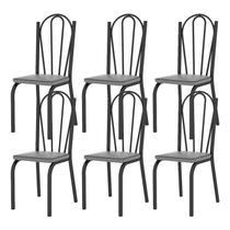 Kit 06 Cadeiras Tubular Preto Fosco 121 Assento Platina - Artefamol