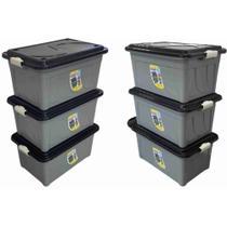 Kit 06 Caixa Organizadora 60 Litros Plástico Multiuso Cinza com a Tampa Preta  Agraplast -