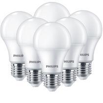 Kit 06 Lâmpadas Led Philips Branco Quente 9w - Qualidade -