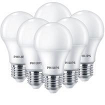 Kit 06 Leds Bulbo Philips Luz Quente 9w - Alta Durabilidade -
