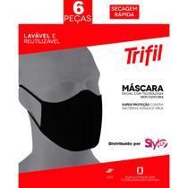 Kit 06 Máscaras PRETAS - Trifil/Lupo - Tecido Lavável Dupla - Lupo/Trifl
