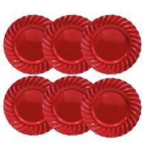 Kit 06 Sousplat Redondo Waves Vermelho em Polipropileno 33 cm Mesa Posta Chique - YAZI