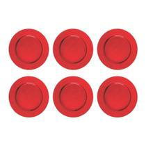 Kit 06 Sousplat Redondos em Polipropileno Vermelho Liso 33cm Mesa Posta Decoração de Festa - Mundiart