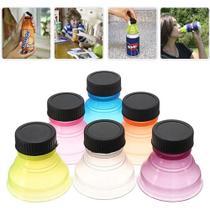 Kit 06 Tampas para Latas de Bebidas, Adaptador que Veda e Higieniza Latas Can Convert Multicolores -