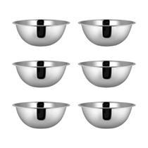 Kit 06 Tigela Bowl em Aço Inoxidável 24 x 8,5 cm Capacidade Para 2250 ml Cozinha Preparação - Yazi