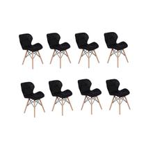 Kit 08 Cadeiras Charles Eames Eiffel Slim Wood Estofada - Preta - Magazine decor
