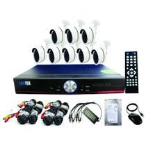 kit 08 câmeras de segurança DVR 8 canais com HD 500 GB - Marca LUATEK -