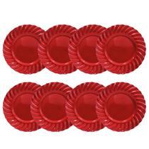 Kit 08 Sousplat Redondo Waves Vermelho em Polipropileno 33 cm Mesa Posta Chique - YAZI