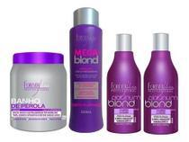 Kit 1 Banho De Pérola, 1 Mega Blond E 2 Shampoos Matizador - Forever Liss