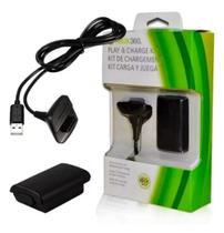 Kit 1 Bateria Para Controle Xbox 360 + 1 Cabo Carregador - Hard 7