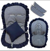Kit 1 Capa de carrinho Capa de bebê conforto Jogo protetor de cinto e Almofada de Brinde Cor Azul -