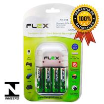Kit 1 Carregador Flex FX-C03 + 4 Pilhas Recarregáveis Tipo Aa 2900mAh FX-AA29B4 -