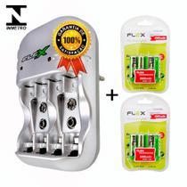 Kit 1 Carregador Flex FX-C03 + 8 Pilhas Recarregáveis Tipo AA 2900Mah FX-AA29B4 -