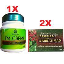 Kit 1 Creme Seca Espinhas Acne Manchas + 2 Sabonete Barbatimão e Aroeira - Bionature