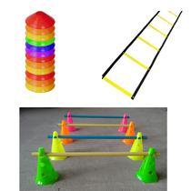 Kit 1 Escada + 10 Half Cone + 8 Cones com Barreiras Funcional Rythmoon -