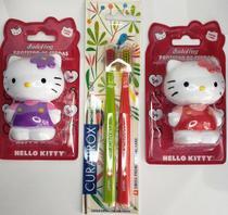 Kit 1 escova dental curaprox duo smart +  2 porta escova hello kitty -