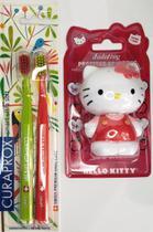 Kit 1 escova dental curaprox duo smart + porta escova hello kitty -