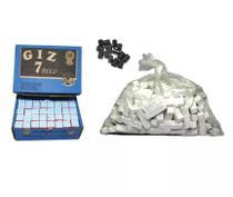 Kit 1 Kg Giz Branco + 144 Azul + 20 Ponta Taco Sinuca Bilhar - 7 Belo
