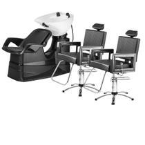 Kit 1 Lavatório Porcelana E 2 Cadeiras Reclinável Dompel Salão De Beleza Profissional -