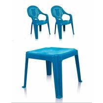 Kit 1 Mesa 45x45cm e 2 Cadeiras Decoradas Teddy Infantil Azul - Antares