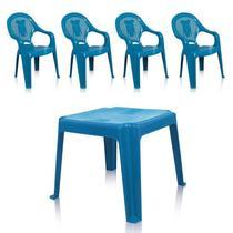 Kit 1 Mesa 45x45cm e 4 Cadeiras Decoradas Teddy Infantil Azul - Antares