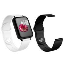 Kit 1 Relógio Inteligente SmartWatch B57 Branco Android iOS + 1 Pulseira Extra Silicone Preto - Smart Tech