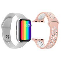 Kit 1 Relógio Inteligente SmartWatch IWO12 Lite Branco Android iOS + 1 Pulseira Extra Sport Rosa - Smart Bracelet