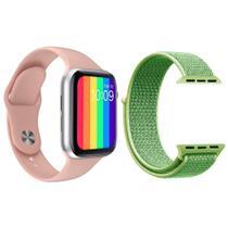 Kit 1 Relógio Inteligente SmartWatch IWO12 Lite Rosa Android iOS + 1 Pulseira Nylon Verde - Smart Bracelet