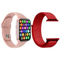 Kit 1 Relógio Inteligente SmartWatch IWO8 Lite Plus Rosa + 1 Pulseira Extra Nylon Vermelho - Smart Bracelet