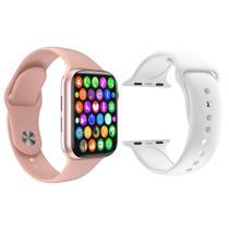 Kit 1 Relógio Inteligente SmartWatch IWO8 Lite Plus Rosa + 1 Pulseira Extra Silicone Branco - Smart Bracelet