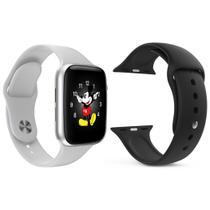 Kit 1 Relógio Inteligente SmartWatch LD5 Branco Android iOS + 1 Pulseira Extra Silicone Preto - Smart Bracelet