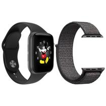 Kit 1 Relógio Inteligente SmartWatch LD5 Preto Android iOS + 1 Pulseira Extra Nylon Cinza - Smart Bracelet