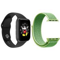 Kit 1 Relógio Inteligente SmartWatch LD5 Preto Android iOS + 1 Pulseira Extra Nylon Verde - Smart Bracelet