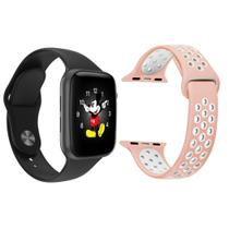 Kit 1 Relógio Inteligente SmartWatch LD5 Preto Android iOS + 1 Pulseira Extra Sport Rosa - Smart Bracelet
