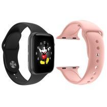 Kit 1 Relógio Inteligente SmartWatch LD5 Rosa Android iOS + 1 Pulseira Extra Silicone Rosa - Smart Bracelet