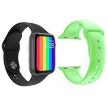 Kit 1 Relógio Inteligente SmartWatch W26 Tela Infinita Preto Android iOS + 1 Pulseira Silicone Verde Claro - Smart Bracelet