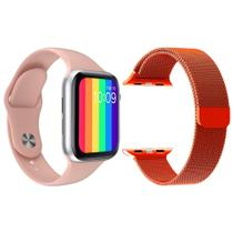 Kit 1 Relógio Inteligente SmartWatch W26 Tela Infinita Rosa Android iOS + 1 Pulseira Milanese Vermelho - Smart Bracelet