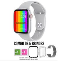 Kit 1 Relógio Inteligente SmartWatch W34 S Branco + 1 Pulseira Aço + 1 Case Silicone + 1 Película - W34s
