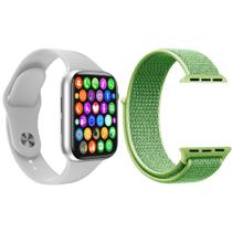 Kit 1 Relógio Inteligente SmartWatch W34 S Branco Android iOS + 1 Pulseira Extra Nylon Verde - Smart Bracelet