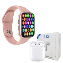 Kit 1 Relógio Inteligente SmartWatch W34 S Rosa Troca Pulseira + 1 Fone Bluetooth i12 TWS Branco- - Fit tws