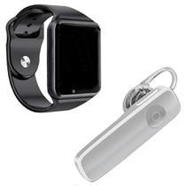 Kit 1 Relógio SmartWatch A1 Preto + 1 Fone De Ouvido Sem Fio Bluetooth Headset Branco -