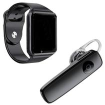 Kit 1 Relógio SmartWatch A1 Preto + 1 Fone De Ouvido Sem Fio Bluetooth Headset Preto -