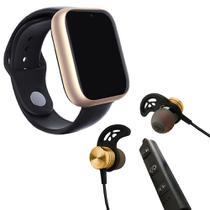Kit 1 Relógio SmartWatch A1 Pro Plus Dourado + 1 Fone sem fio Bluetooth Magnético Dourado - Smart Bracelet