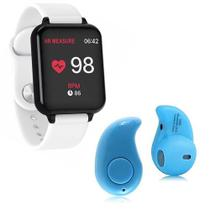 Kit 1 Relógio Smartwatch B57 Hero Band 3 Branco + 1 Mini Fone Bluetooth Azul - Smart Bracelet