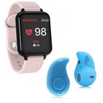 Kit 1 Relógio Smartwatch B57 Hero Band 3 Rosa + 1 Mini Fone Bluetooth Azul - Smart Bracelet