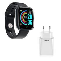 Kit 1 Relógio Smartwatch D13 Pro Plus Preto Esportivo Android iOS + 1 Base de Carregador - Smart Bracelet