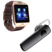 Kit 1 Relógio SmartWatch DZ09 Dourado + 1 Fone De Ouvido Sem Fio Bluetooth Headset Preto - Smart Bracelet
