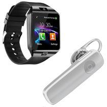 Kit 1 Relógio SmartWatch DZ09 Preto + 1 Fone De Ouvido Sem Fio Bluetooth Headset Branco - Smart Bracelet